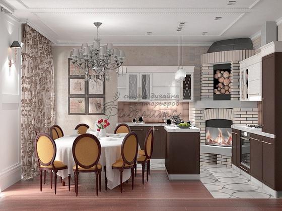 Дизайн интерьера кухни-гостиной в частном доме фото